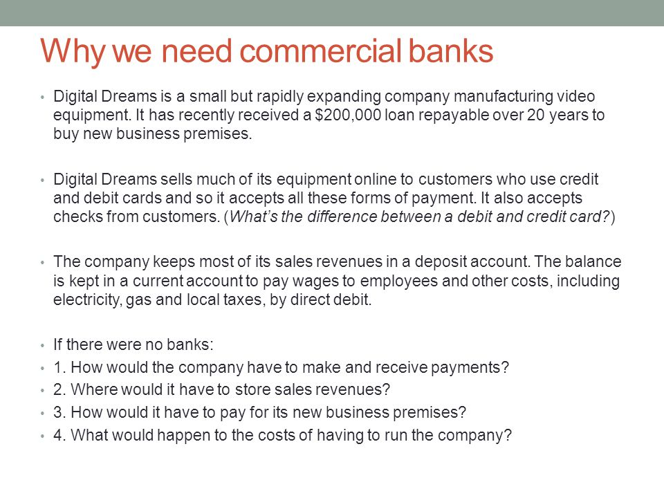 Why we need commercial banks
