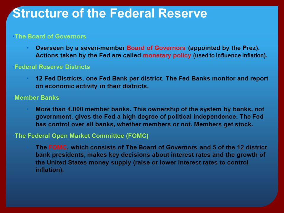 structure of the federal reserve system and banks The structure and functions of the federal reserve system the federal reserve system is the central bank of the united states it was founded by congress in 1913 to provide the nation with.