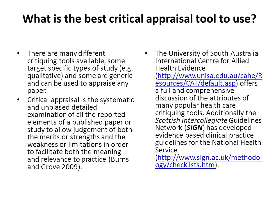 Critical appraisal qualitative research nursing