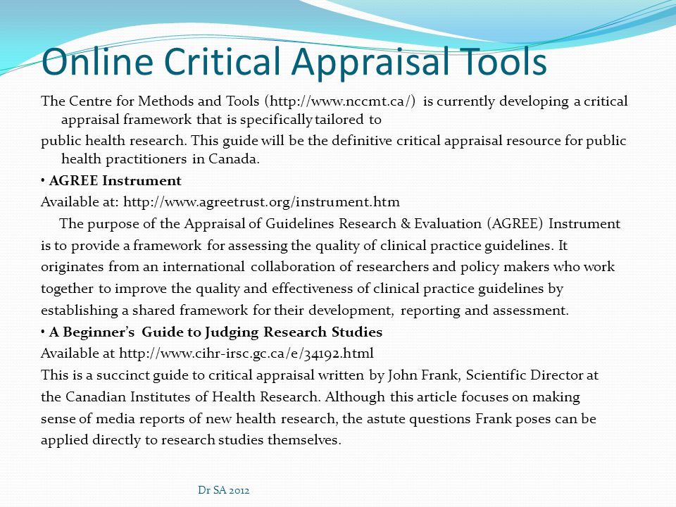 Online Critical Appraisal Tools