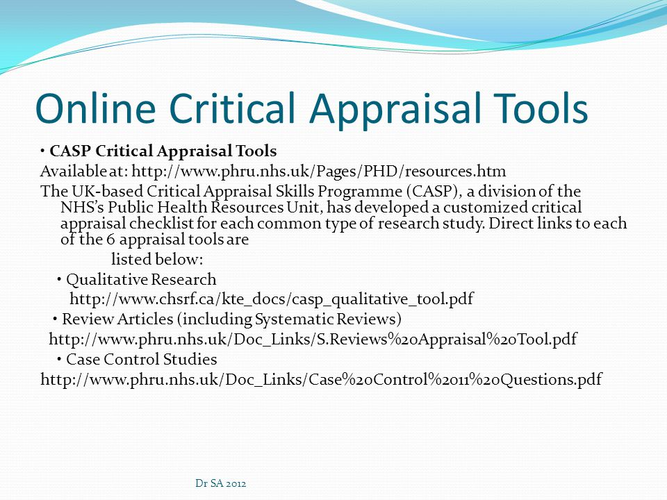 Critical appraisal tools for research papers