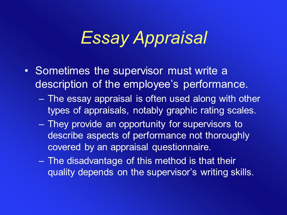 employee appraisals essay Employees, as well as managers, often question why organizations do employee performance appraisals anyone who has received or been given a performance appraisal could argue why they.
