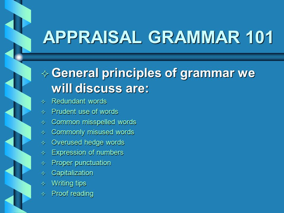 APPRAISAL GRAMMAR 101 Huukt on Fonnix reelley wirked fir mee