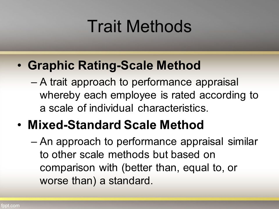 Trait Methods Graphic Rating-Scale Method Mixed-Standard Scale Method