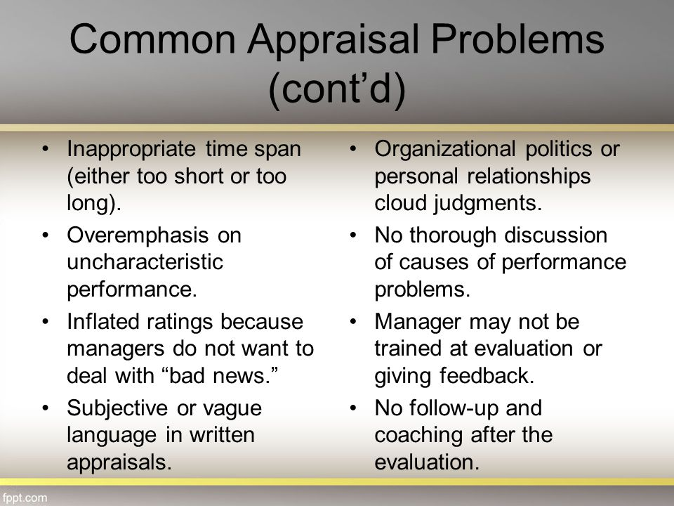 Common Appraisal Problems (cont'd)