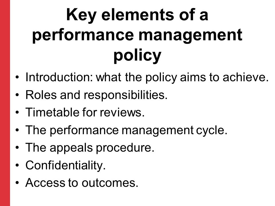 Key elements of a performance management policy