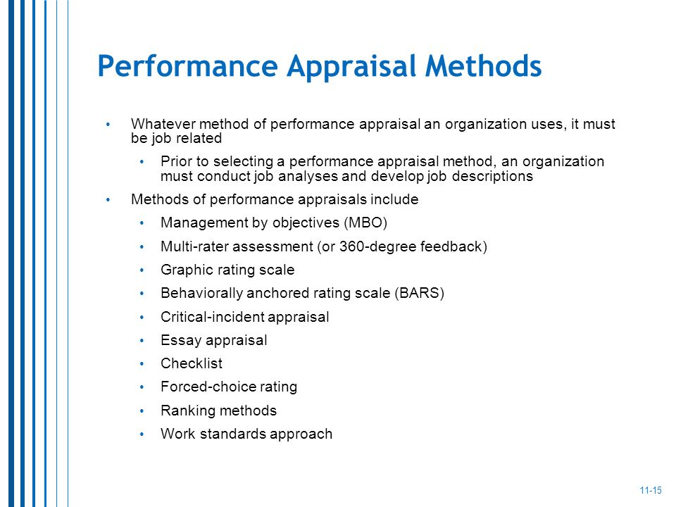 performance appraisal methods essay Free essay: brief overview of performance appraisal performance appraisal can be referred to as a method of evaluating your employees using this method, the.