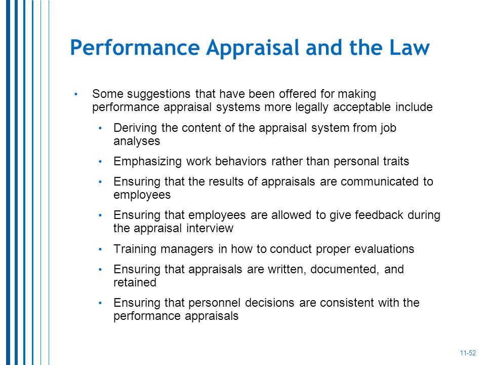 performance and appraisals Performance management overview & history appraisals must be based on job-related performance standards agencies must encourage employee participation in.