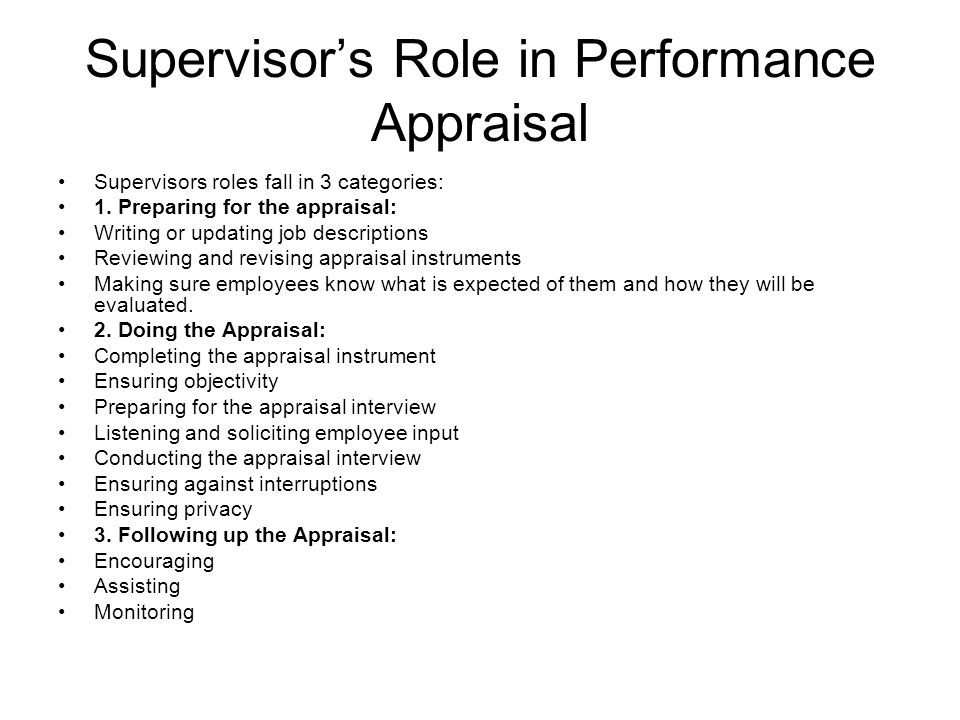 supervision and appraisal
