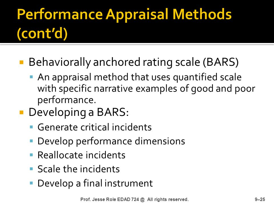 performance appraisal using behaviorally anchored rating Behaviorally anchored rating scales (bars) are scales used to rate performancebars are normally presented vertically with scale points ranging from five to nine it is an appraisal method.