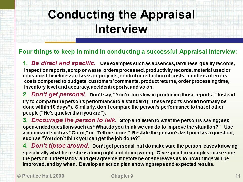 Conducting the Appraisal Interview