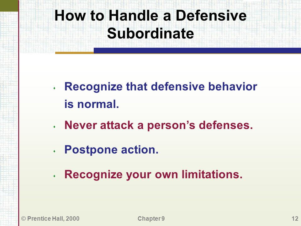 How to Handle a Defensive Subordinate