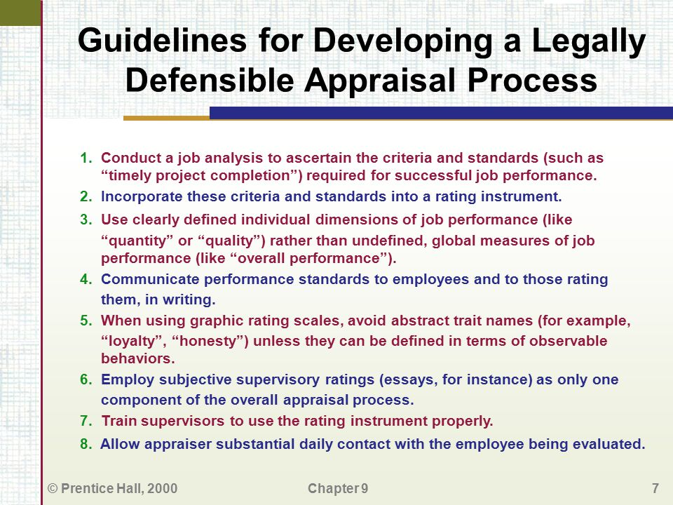 Guidelines for Developing a Legally Defensible Appraisal Process
