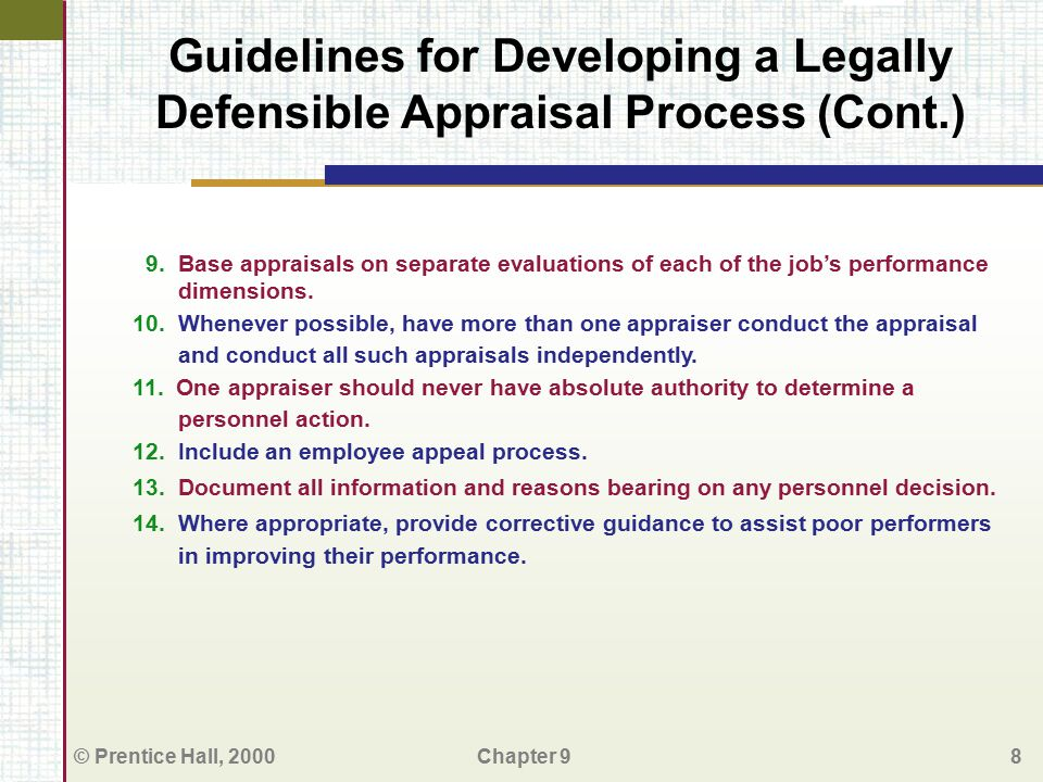 Guidelines for Developing a Legally Defensible Appraisal Process (Cont