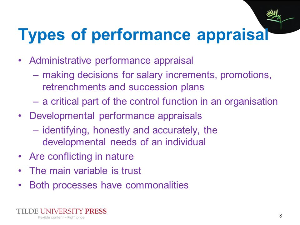 identify and critique the basic methods for performance appraisal Organisations and managers are now using a number of appraisal methods in order to assess employee performance, and these methods both have benefits and negatives an employee performance appraisal is a critique and a review of an employee's performance during the year, or another specified time period (woods, 2003).