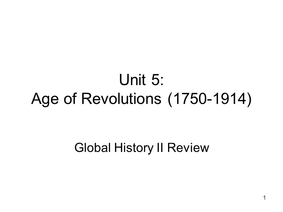 Unit 5: Age of Revolutions (1750-1914)