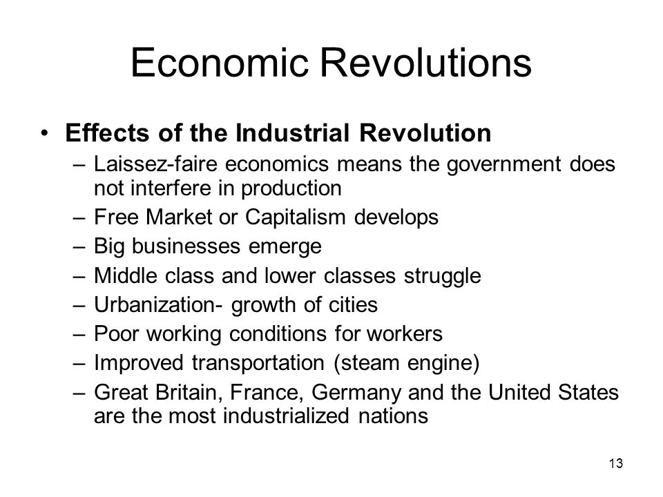 Economic Revolutions Effects of the Industrial Revolution