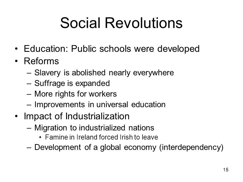 Social Revolutions Education: Public schools were developed Reforms