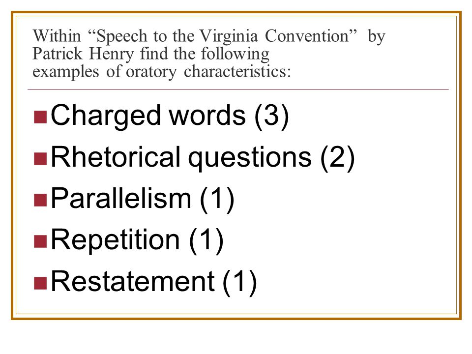 patrick henry speech rhetorical devices