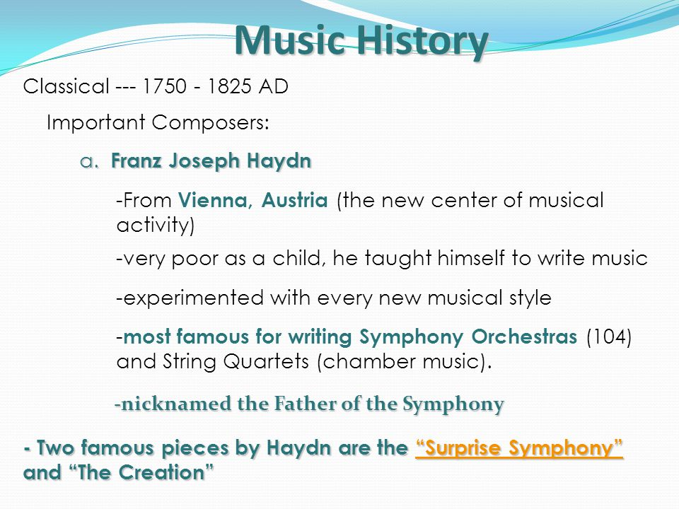 classical period of music essay Classical and romantic music evolved in different eras which are highly  distinguished by different features like their content and method of composition.