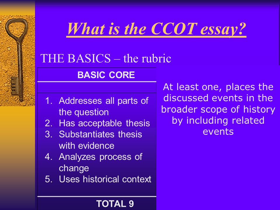 what is the ccot essay the basics the rubric - Change Over Time Essay Example
