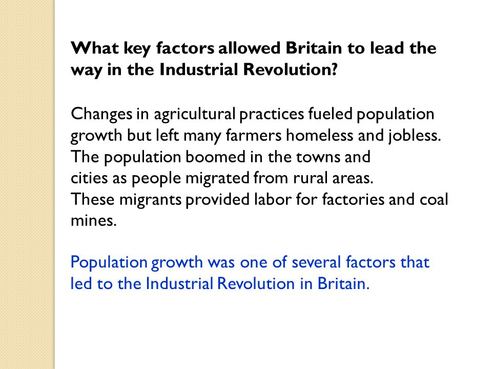 chapter the industrial revolution begins ppt video online  17 what key factors allowed britain to lead