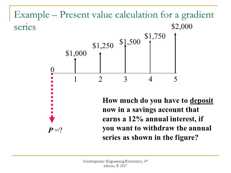 Example – Present value calculation for a gradient series
