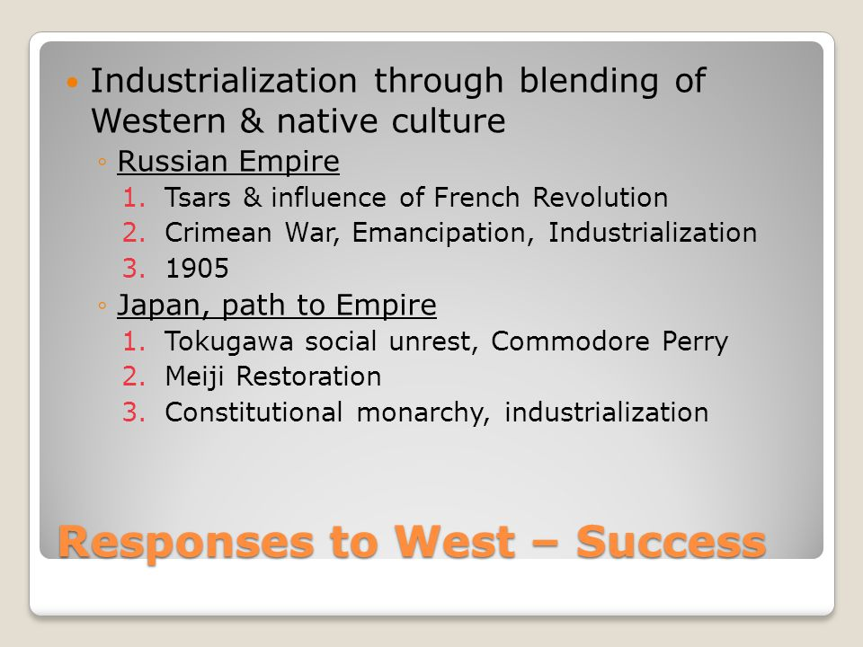 Responses to West – Success
