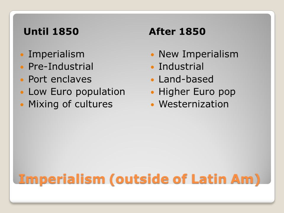 Imperialism (outside of Latin Am)