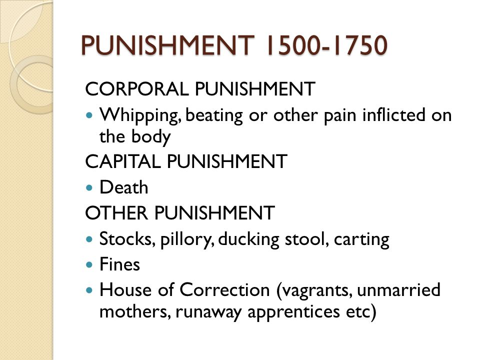 Crime and punishment in the late 1500s to the early 1600s
