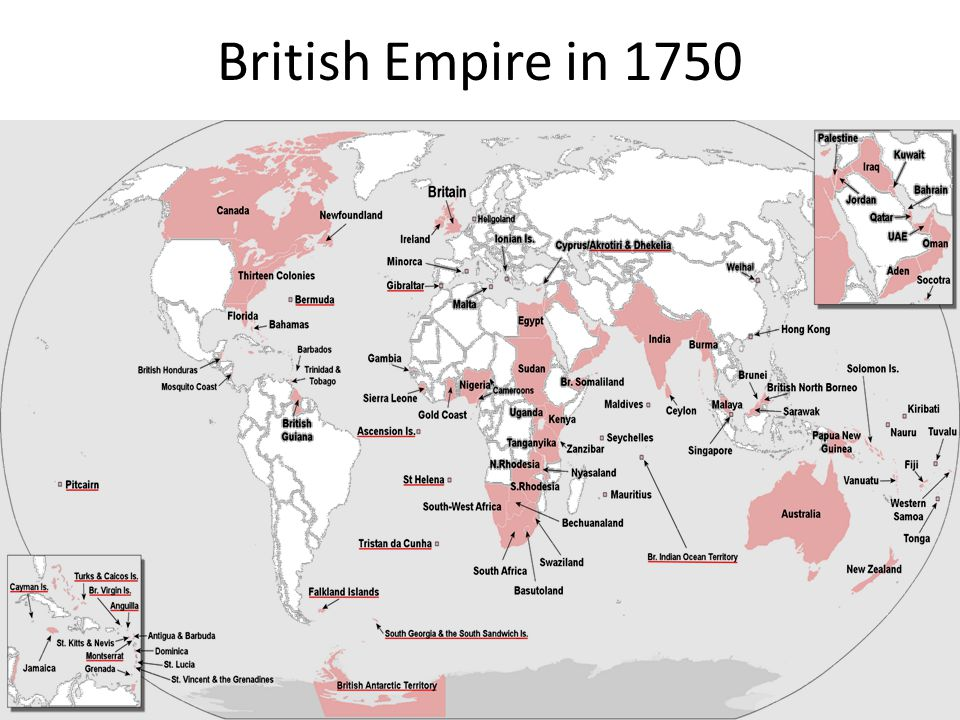 a look at the british empire in 1763 Click on this link for a listing of all of the territories of the british empire showing when they joined it and when they gained independence.