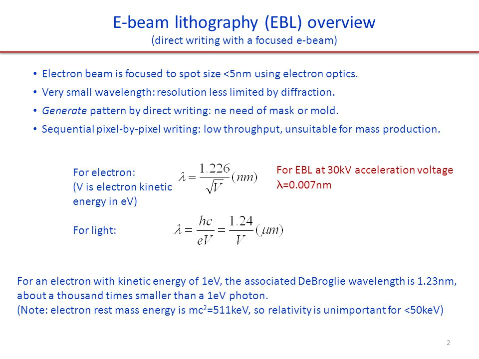 electron beam direct writing agent