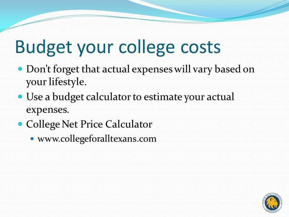 estimate college expenses