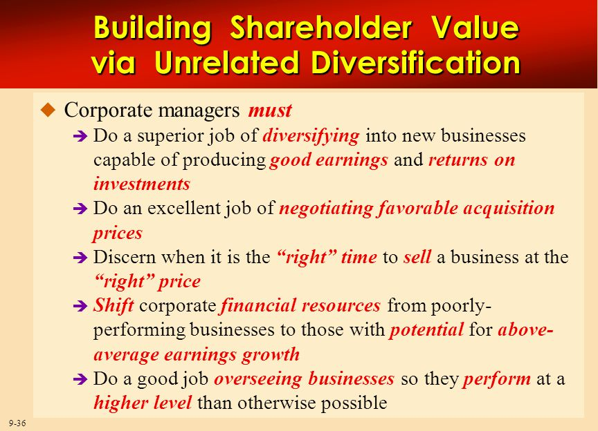 advantages of unrelated diversification Advantages of conglomerate merger the first and foremost advantage of conglomerate merger is that it helps the company in diversification hence a company is less vulnerable to losses due to decline in sales in one sector or industry.