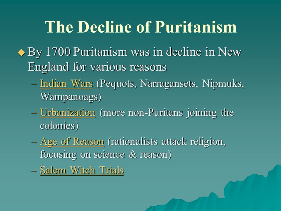 the influence of puritanism on american 22 the influence of puritanism on hawthorne's life and works he regards american puritanism as the theme of his works, the geography and cultural backgrounds of new england are closely linked his works show the puritan views of life.