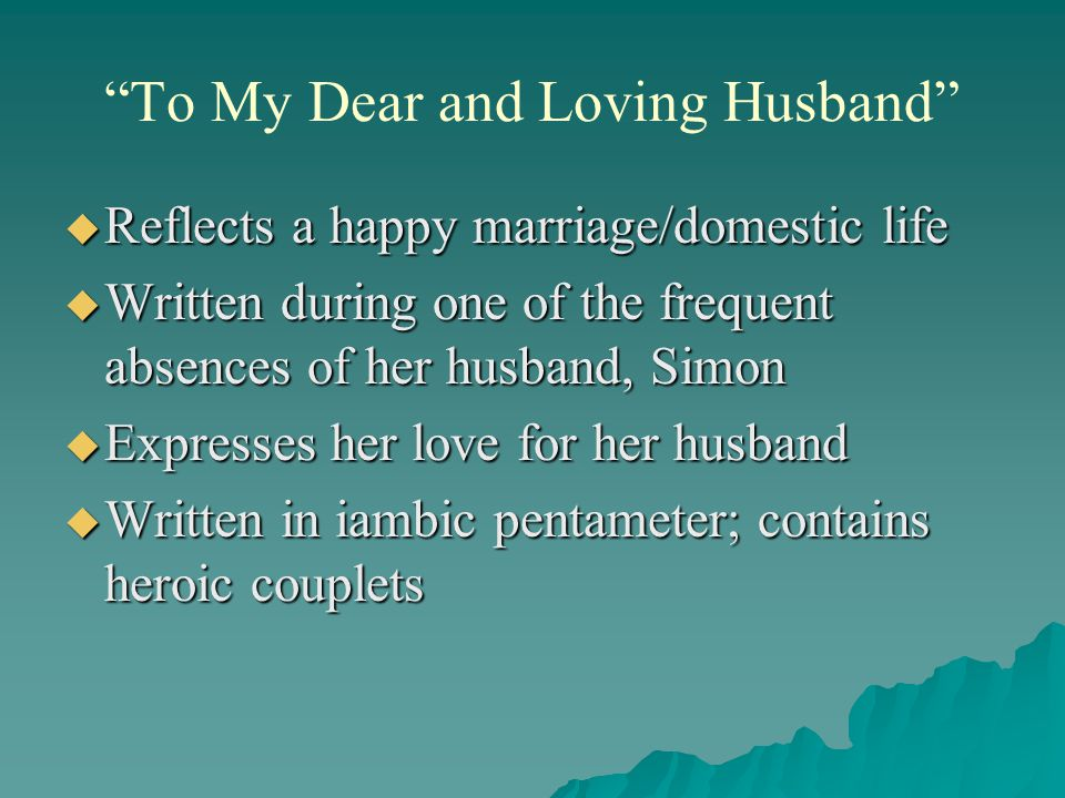 anne bradstreet to my dear children Anne bradstreet was born in 1612 in england  anne bradstreet, read by mary  jo salter  'to my dear and loving husband' expresses a love for a rare man   the delicate and tender poem 'before the birth of one of her children' voices.