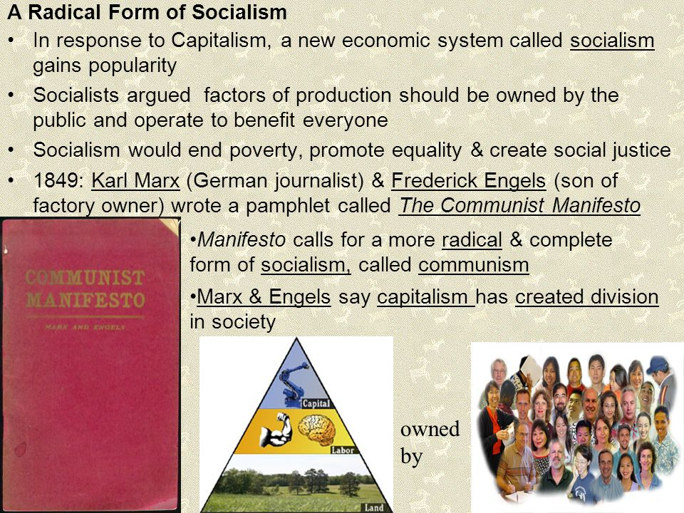 karl marx established idea of communist society in response to capitalism The communist manifesto, published in 1848 by karl marx and  a communist society was the  capitalism looked obsolete the idea that society by.