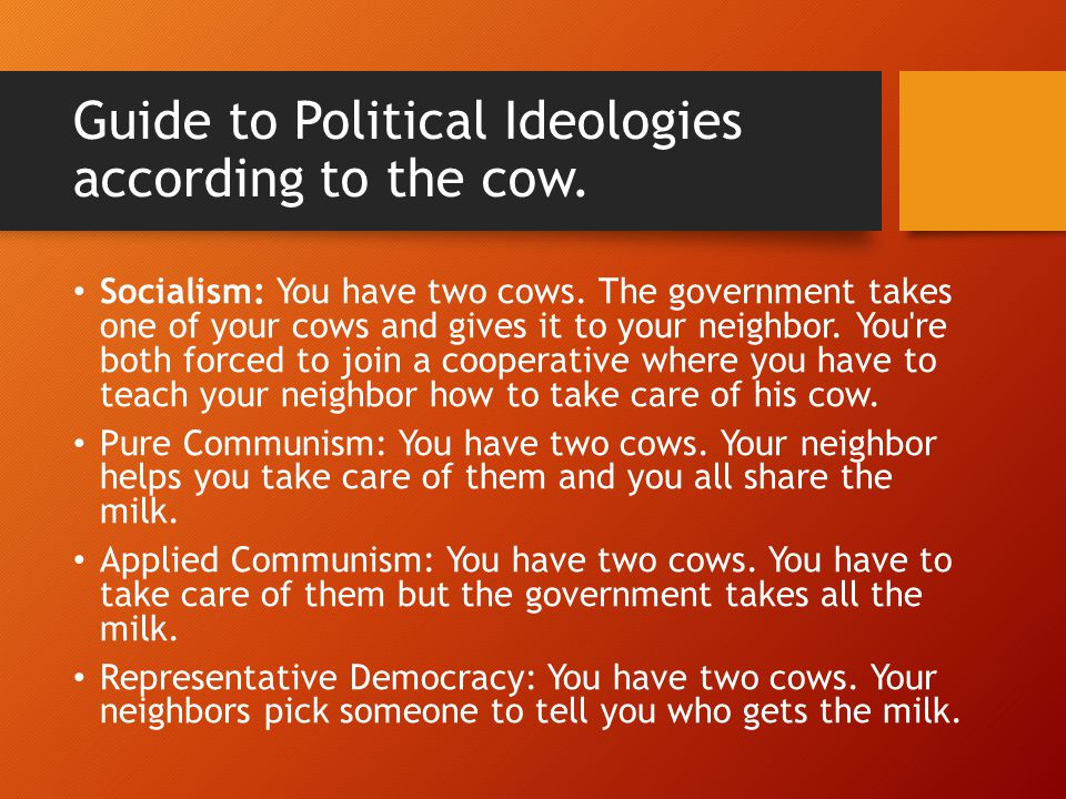 Guide to Political Ideologies according to the cow.