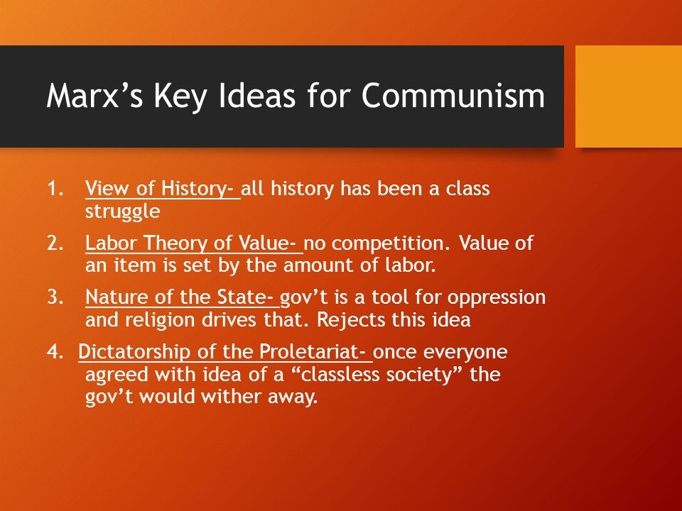 Marx's Key Ideas for Communism
