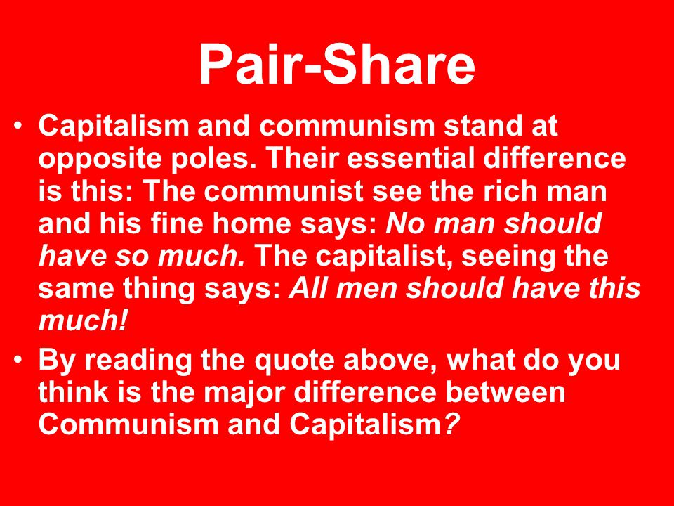 a comprehensive comparison between communism and capitalism 2018-6-13  a planned economy is a  that the soviet economic model did not actually constitute a planned economy in that a comprehensive  socialist economy state capitalism.