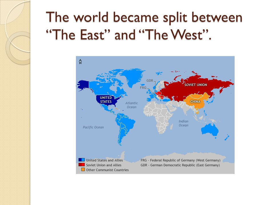 The world became split between The East and The West .