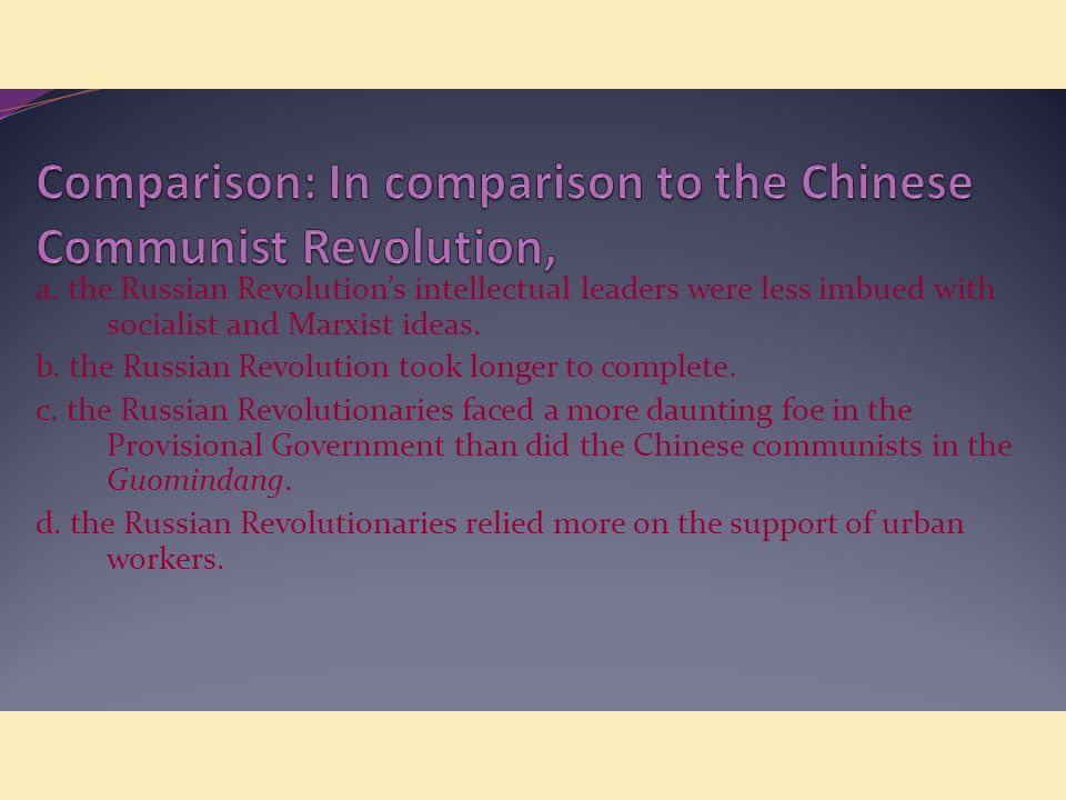 a comparison between the chinese and russian communism Answer to the frequently asked question, what is the difference between communism and socialism.
