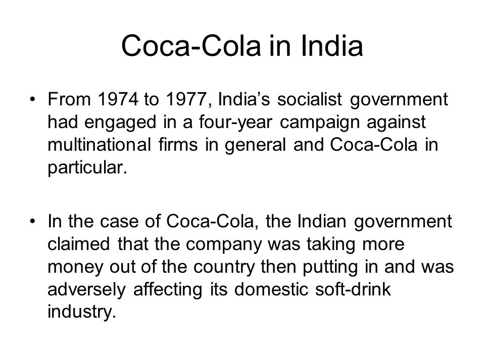 soft drink and coca cola india essay Coca-cola original taste is the world's favourite soft drink and has been enjoyed since 1886 whether you want a small 250ml can or a large 175 litre bottle for sharing, you can find coca-cola original taste in a variety of sizes to suit every lifestyle and occassion.