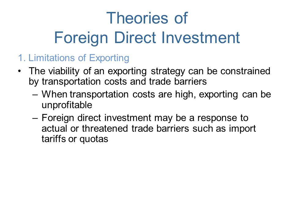 foreign direct investment theories Perfect market is hypothetical market characterised by large number of buyers and sellers in the presence of perfect knowledge.