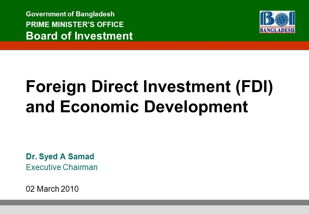 foreign direct investment and governments catalyst Foreign direct investment (fdi) is recognised as a mechanism by which a host country can upgrade the competitiveness of its resources and capabilities in the extant.