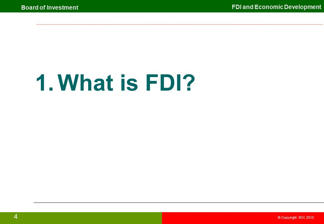 what is foreign direct investment fdi Foreign direct investment played an important role in global business in order to face the dynamic changes of economic environment in its classic definition, it is defined as a company is doing physical investment from a country to another country this type of investment is call as direct.