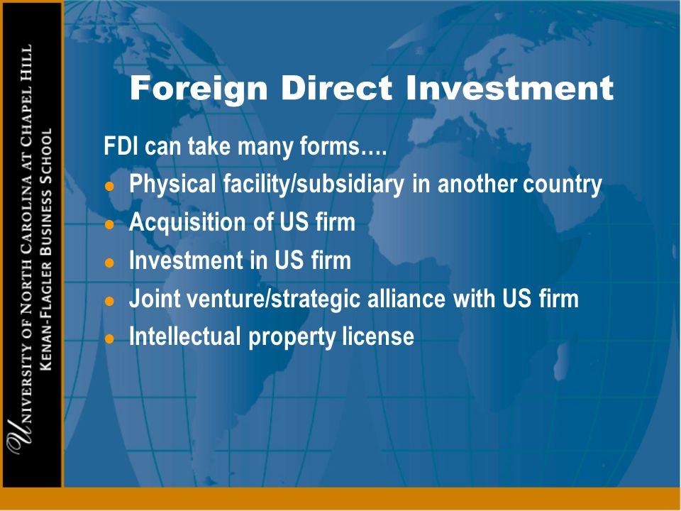 foreign manufacturing strategies without direct investment There are various levels and forms of foreign direct investment, depending on the type of companies involved and the reasons for investment a foreign direct investor might purchase a company in the target country by means of a merger or acquisition, setting up a new venture or expanding the operations of an existing one.