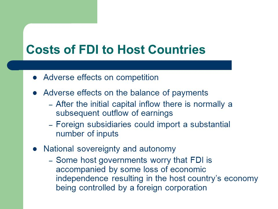 impact of fdi on host country Impact of gross domestic product on inflow of foreign direct investment in india the inflow of foreign direct investment (fdi) in india has paved the path for the economical and financial development of a country there has been significant increase in economic growth after the liberalization policies undertaken by india in 1991 (nagaraj 1997.