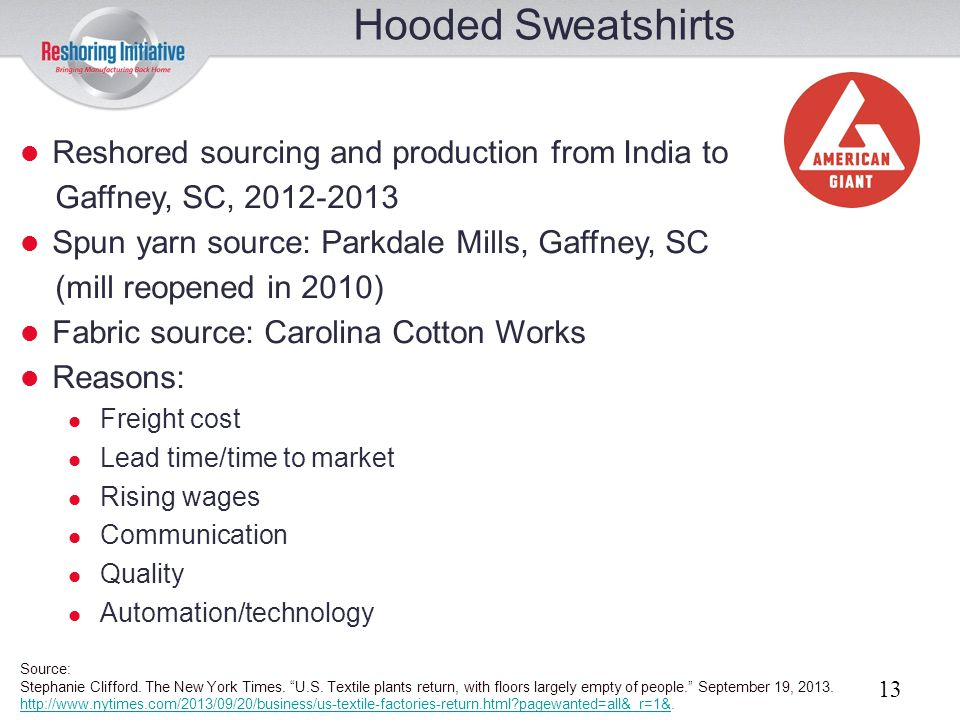 Hooded Sweatshirts Reshored sourcing and production from India to