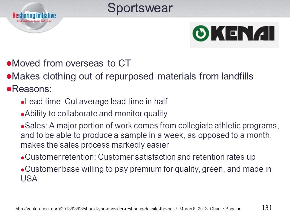 Sportswear Moved from overseas to CT